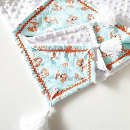 Tribal Fox Blanket with White Tassels