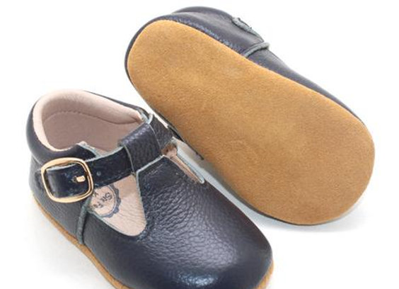 Jacy Navy TBars Leather Shoes