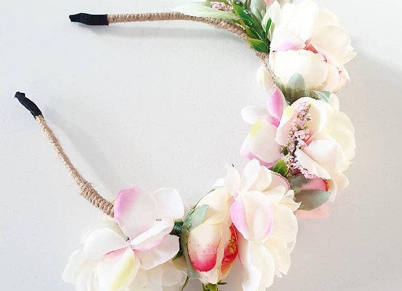 Miss Priss Luxe Flower Crown Cream & Pink