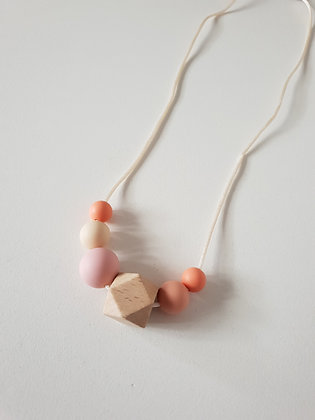 Feeling Peachy Kids Necklace / Wooden Hexagon Beads