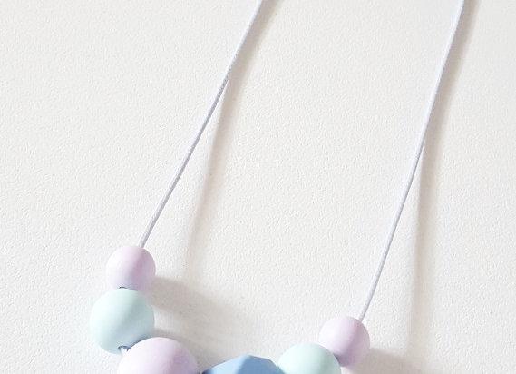Pastel Dream Kids Necklace / Dk Blue Hexagon Bead