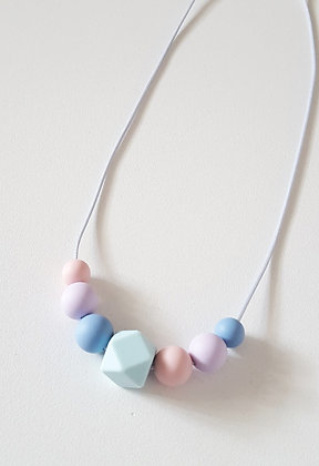 Pastel Dream Kids Necklace / Lt Blue Hexagon Bead