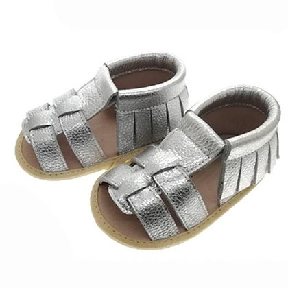 Angel Leather Tan Silver 0/6m