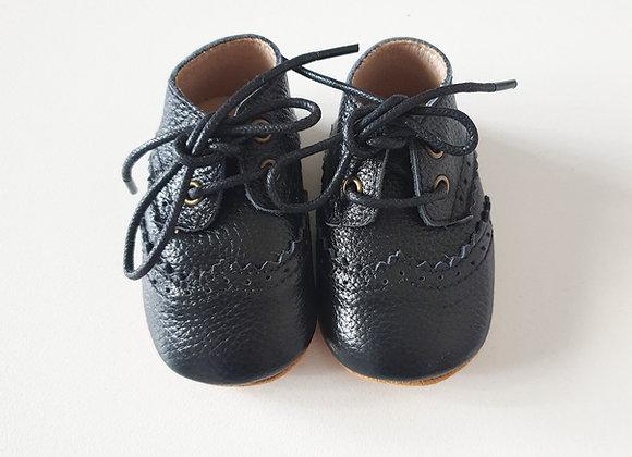 Vita Leather Black Lace Shoes