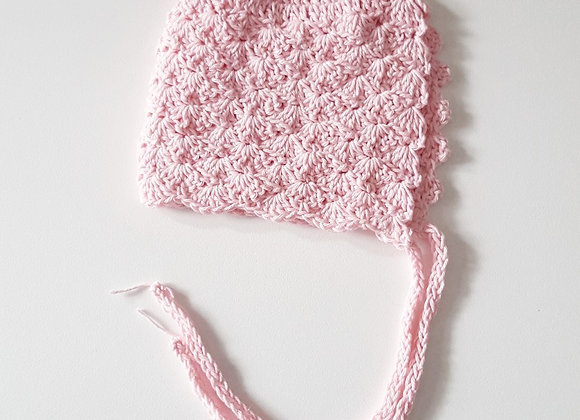 Crochet Baby Pink Bonnet with Knitted Ties