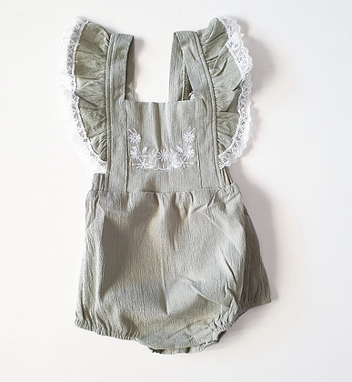 Toottoot Baby Olive Lace Romper