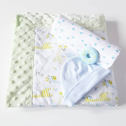Sweet Giraffe Blanket with Light Lime Minky Dot