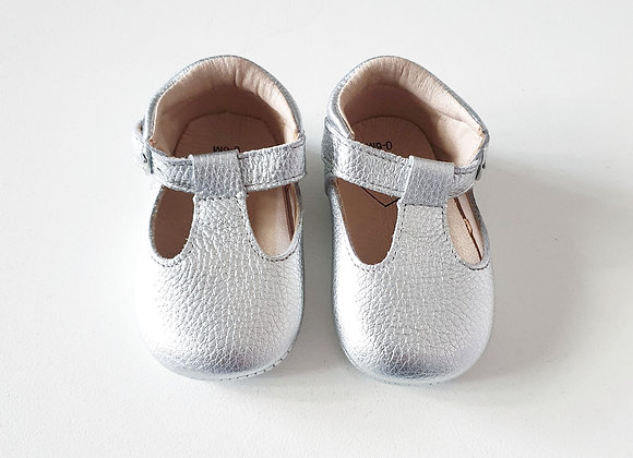 Silver TBars Leather Shoes