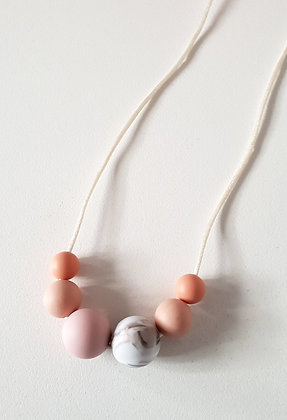 Feeling Peachy Kids Necklace / Marble Peach Beads
