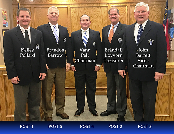 Board of Education Members: Kelley Pollard, Brandon Barrow, Vann Pelt, Brandall Lovvorn, John Barret