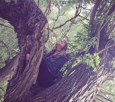 Author in tree thinking of therapeutic story books to write