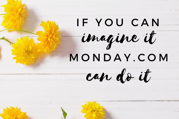 'If you can imagine it MOnday.com can do it' on wooden background with pink flowers