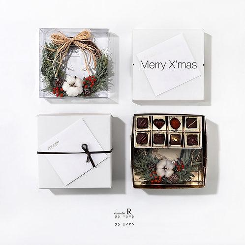 Noël 聖誕花圈與巧克力禮盒