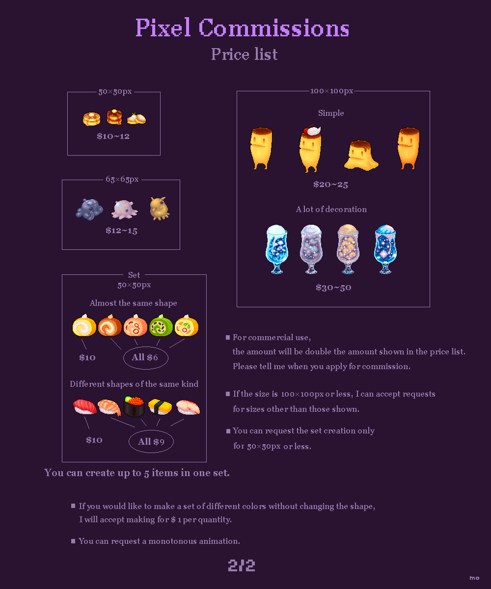 Pixel Commissions Open Price List