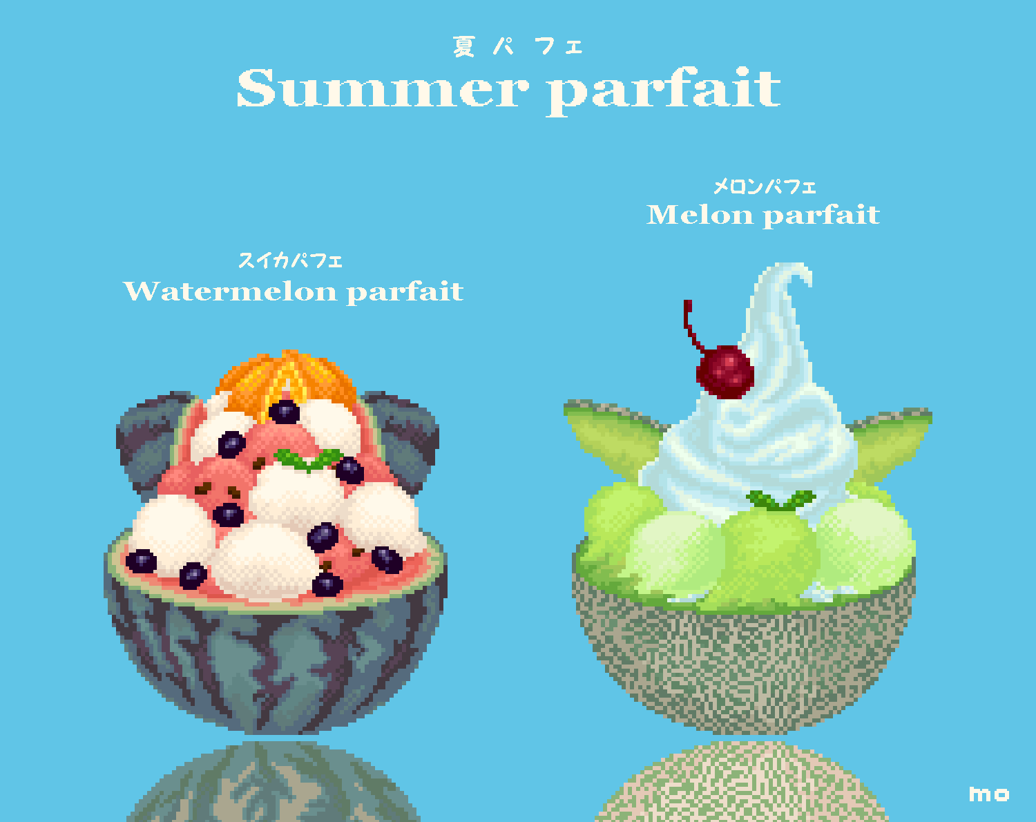 Watermelon parfait and Melon parfait