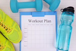 Workout plan and sports equipment top vi