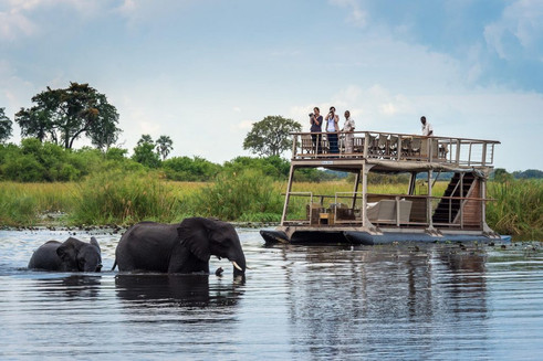 Barging on the Linyanti River
