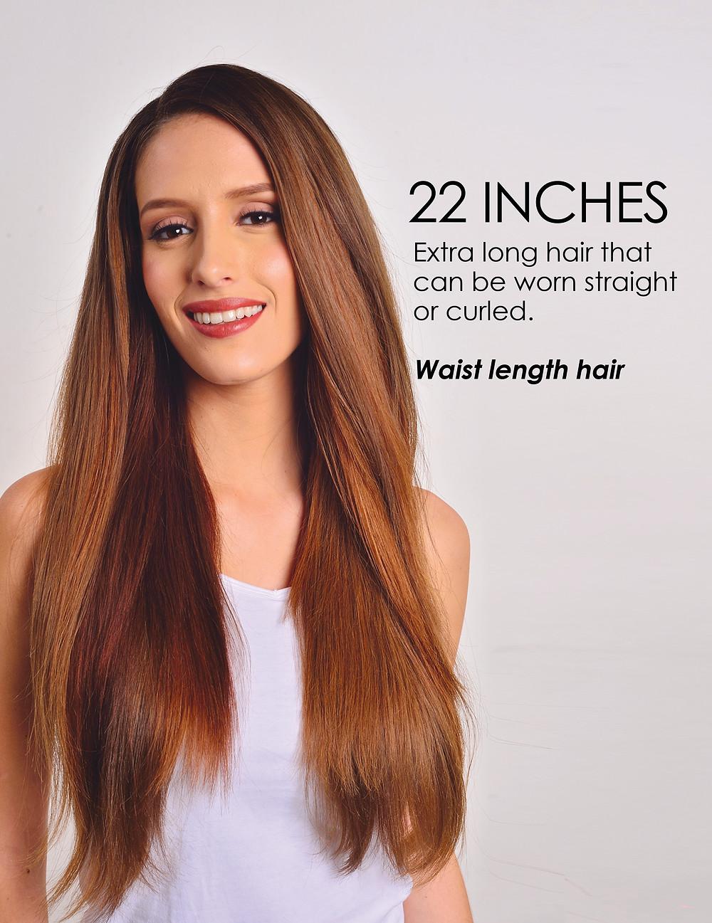 22 inches, waist length hair, woman, gir, long hair, brown hair, tank top