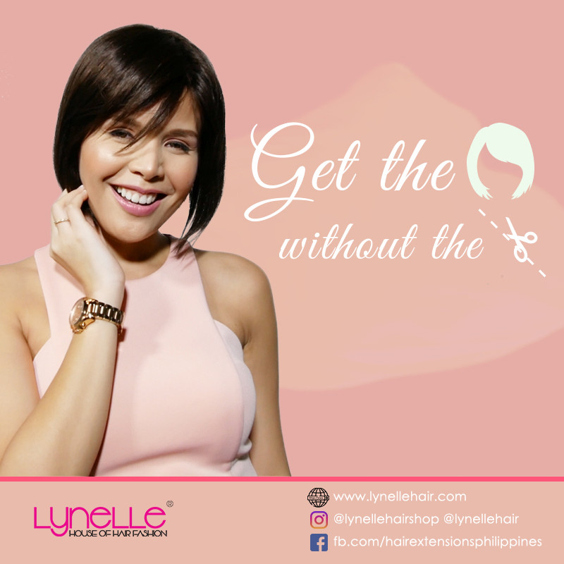 Lynelle Hair Fashion, short bob cut, bangs, pink top, girl, lady, woman