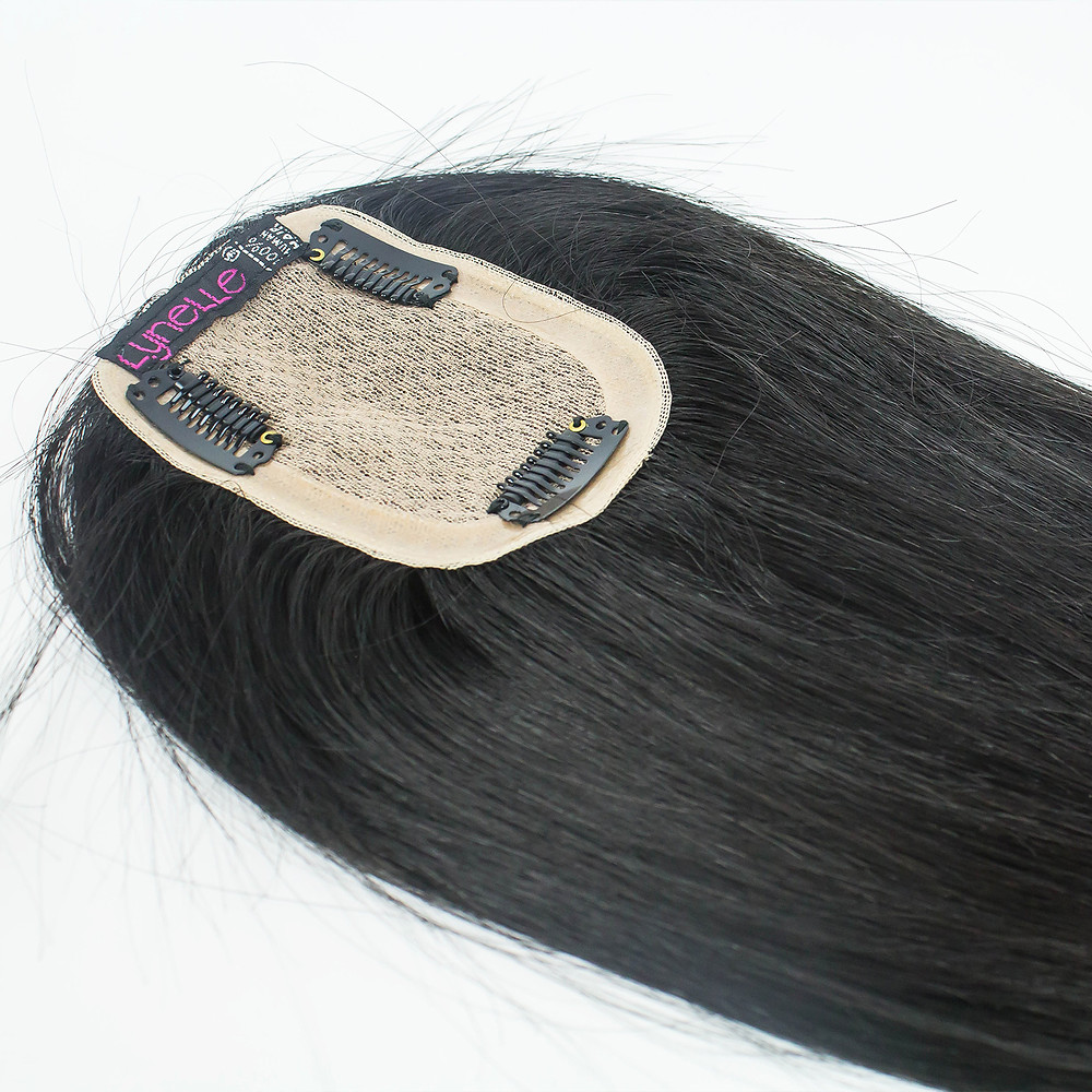 Black human hair toupee with clips