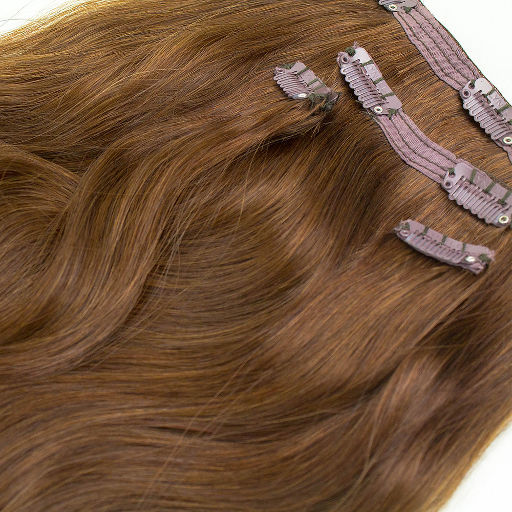 hair extensions,  clip on hair extensions, brown wavy hair