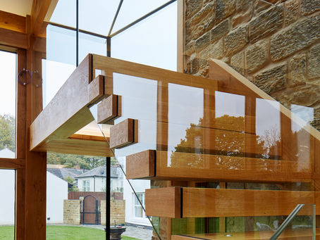 Oak and glass designed staircase