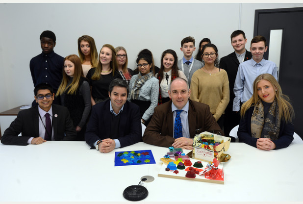 Star of BBC's The Apprentice Felipe Alviar-Baquer speaks to students at Harlow C
