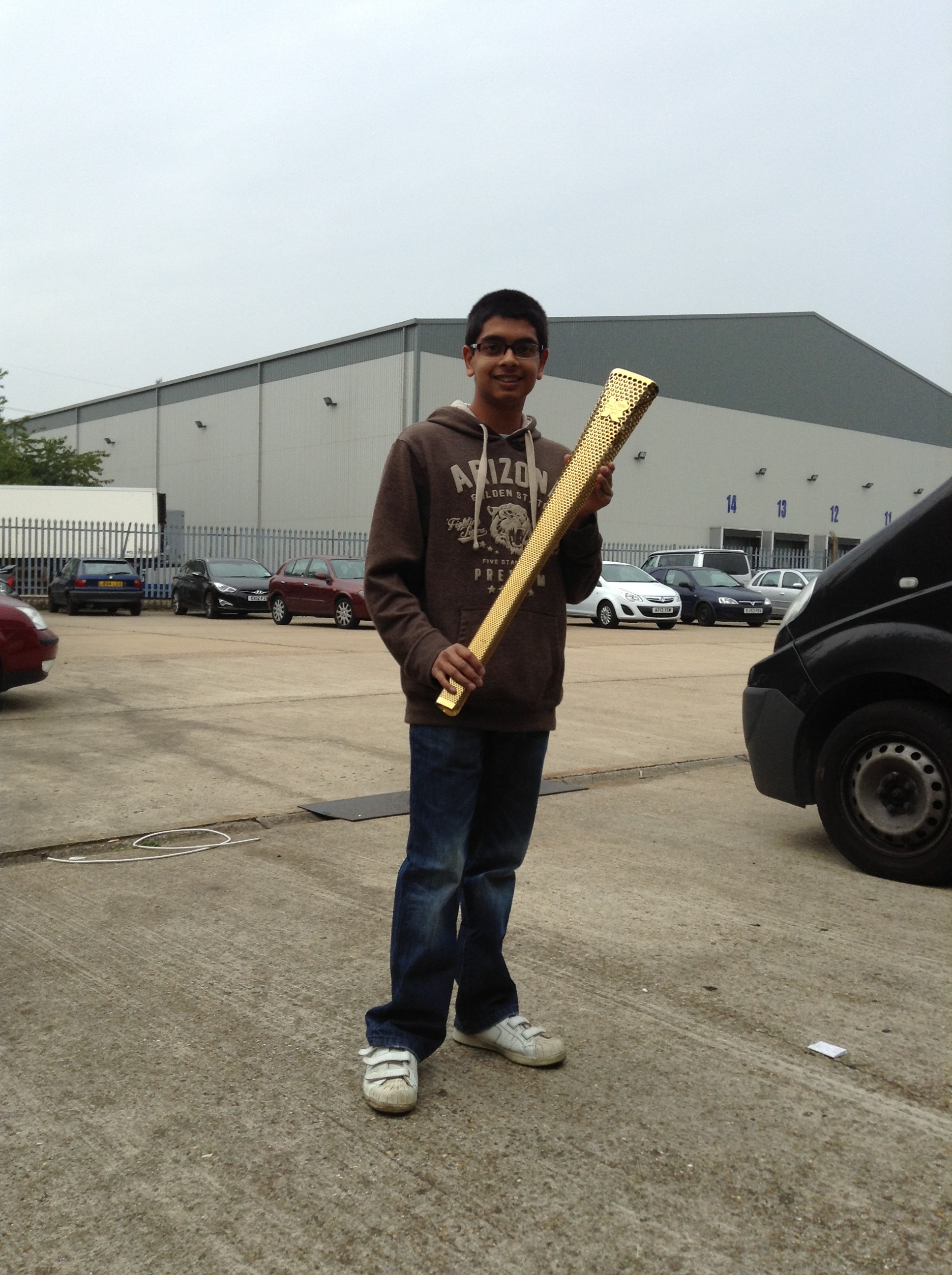 Olympic Torch at Simm Tronic  August 2013.JPG