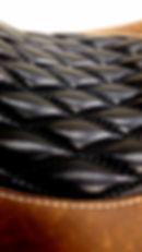 Bomber brown distressed leather black diamond pleats cream stitching 83seats mototrcycle seat 83