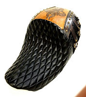 83seats diamond pleat, hand carved leather, brass accents, alligator custom motorcycle seat