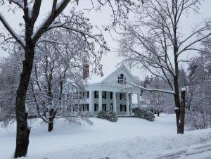 White Georgian home with large columns on Main Street, Walpole, NH