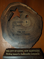 Inn at Valley Farms Awarded Keene's Green Business of the Year Award