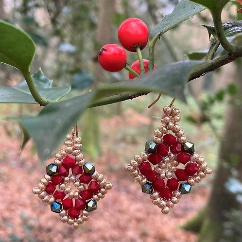 Beaded Poinsettia Earrings