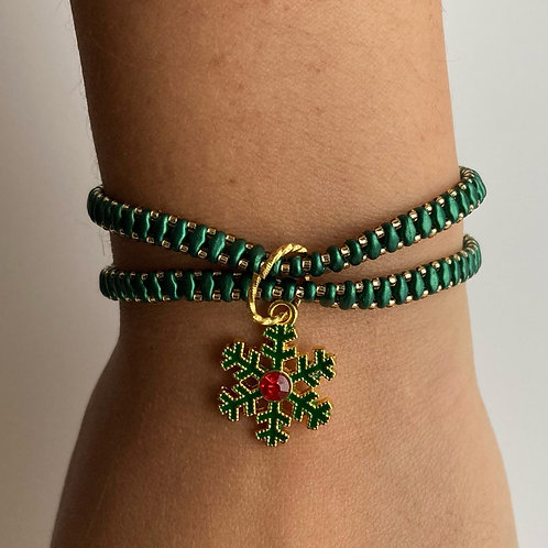 Beaded Christmas Charm Bracelet / Necklace 2 in 1
