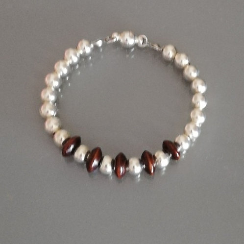 Mens Silver and Wood Beaded Bracelet