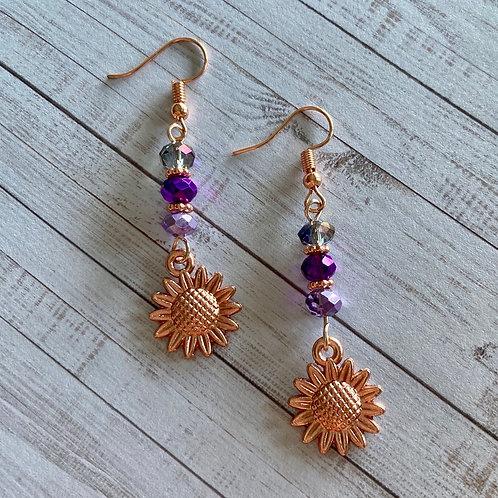 Rose Gold Flower Beaded Earrings