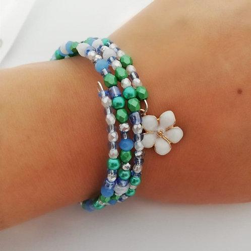 Japanese Inspired Beaded Bracelet with Flower Charm