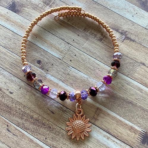 Rose Gold Flower Beaded Bracelet