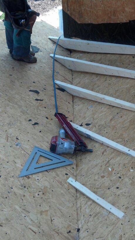 Framing roof to prevent leak.