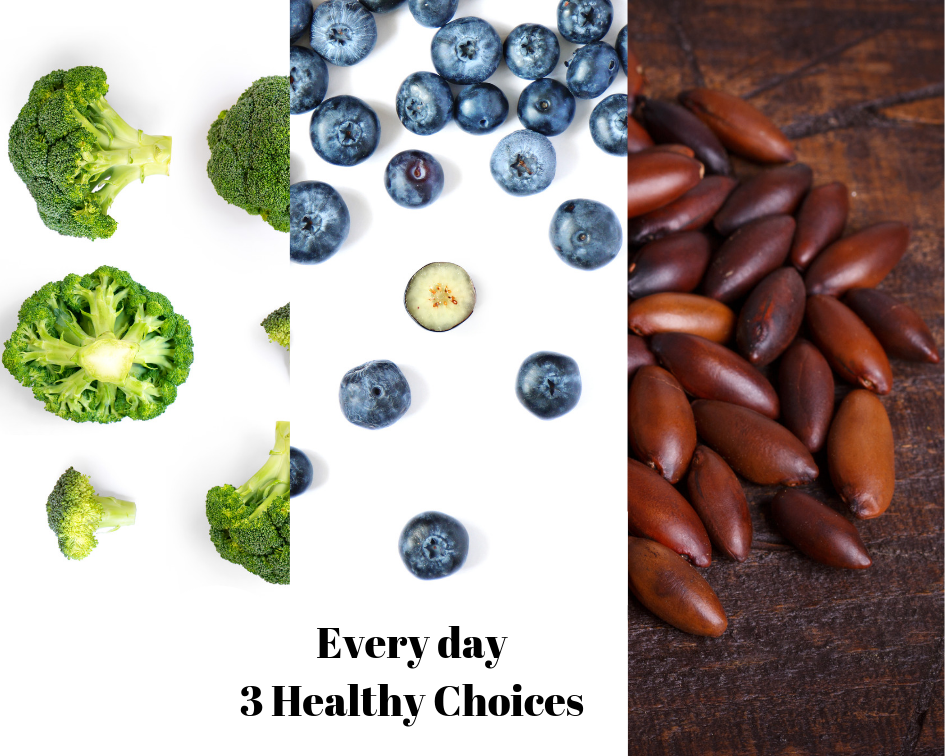 Every day healthy foods like Broccoli, Blueberry, and Barukas