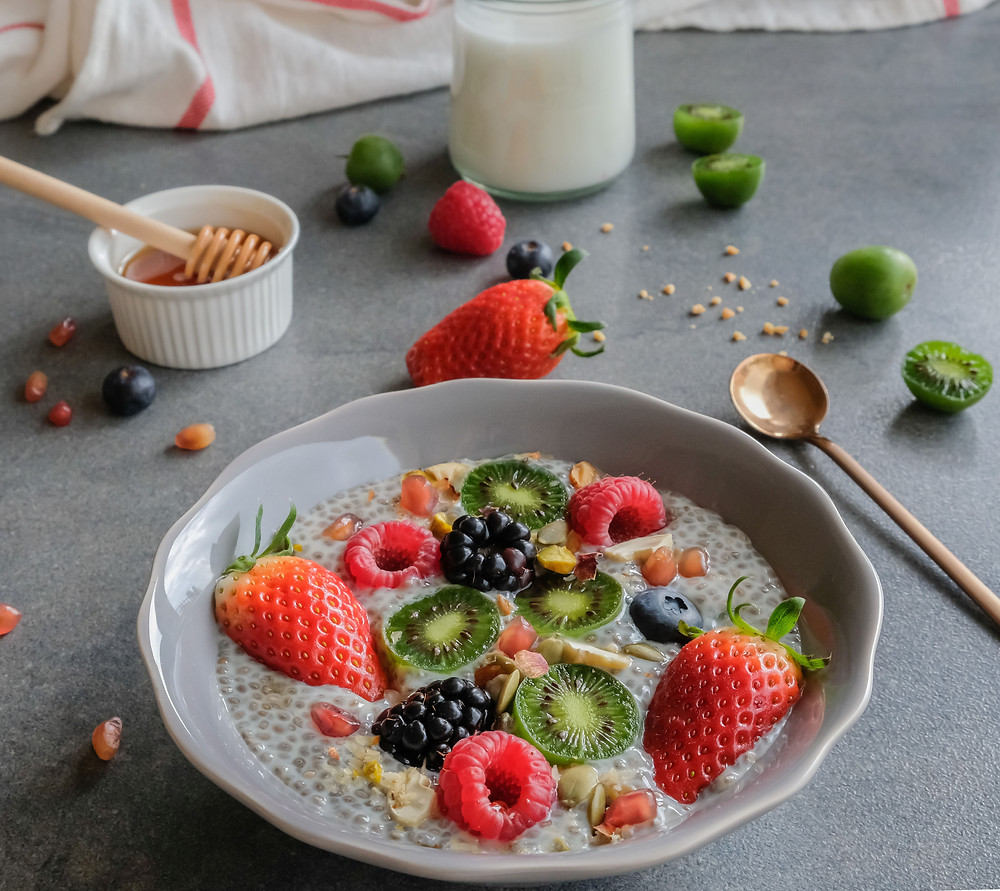 Healthy breakfast with berries and chia seeds.
