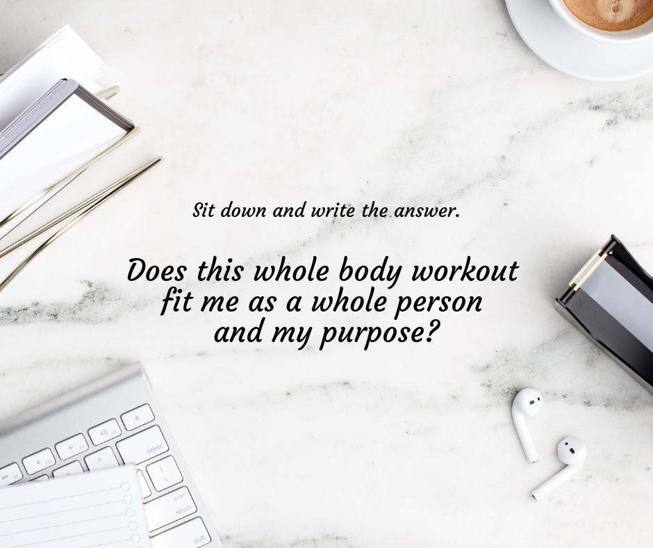 Taking notes about a whole-body workout purpose.