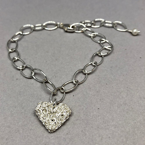 Sterling Silver Chain Bracelet with Tiny Knitted Heart Charm