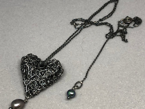 Oxidised Heart Necklace with Dyed Pearl Drop