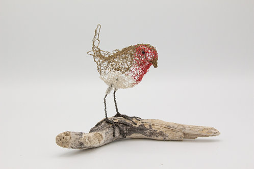 Knitted wire bird - Standing Robin