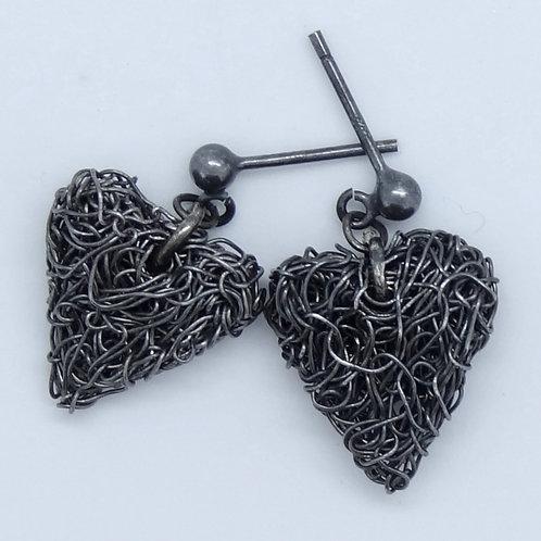Oxidised heart earrings