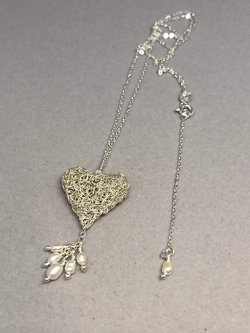 Silver Knitted Heart with Drop Pearl Cluster