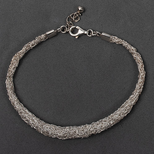 Knitted rolled bracelet- sterling silver