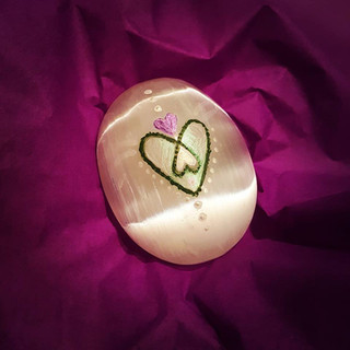 Painted message on Selenite palm stone