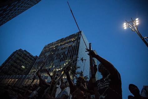 """Ato indígena """"Janeiro Vermelho"""", contra os ataques aos direitos indígenas colocados pelo governo Bolsonaro São Paulo - 31 de janeiro de 2019"""